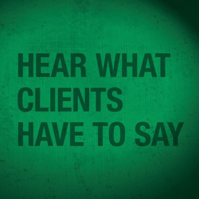 hear what clients have to say graphic text
